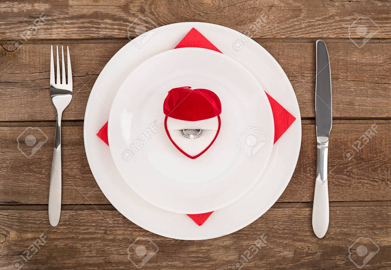 Valentines Day Dinner Table Setting With Red Box Ring Knife