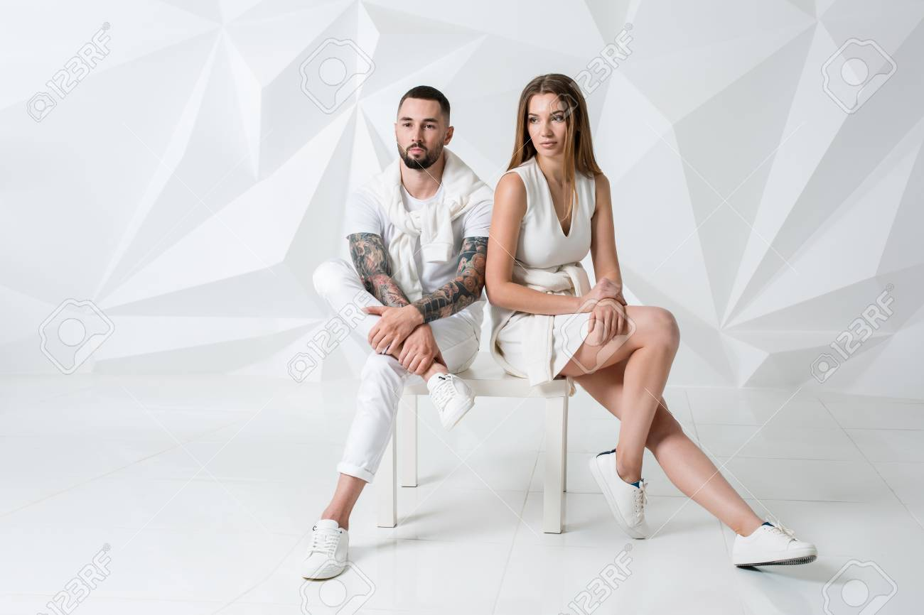 d9a76244bad Shot of a fashionable couple posing at studio. Stock Photo - 75758944