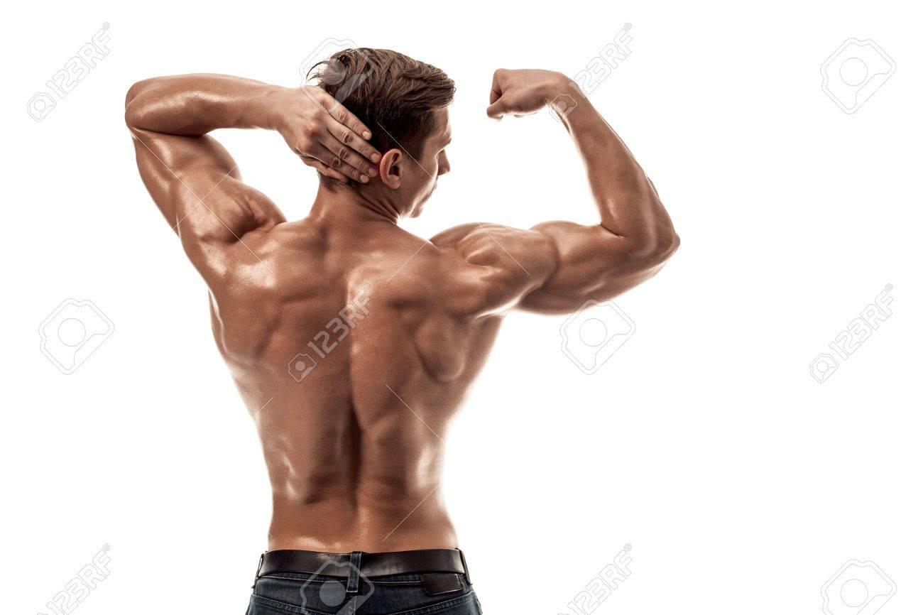 Starke Athletic Man Fitness Model Posiert Rücken Muskeln, Trizeps ...