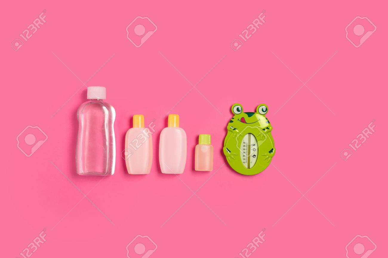 Baby Accessories For Bath With Frog On Pink Background. Top View ...
