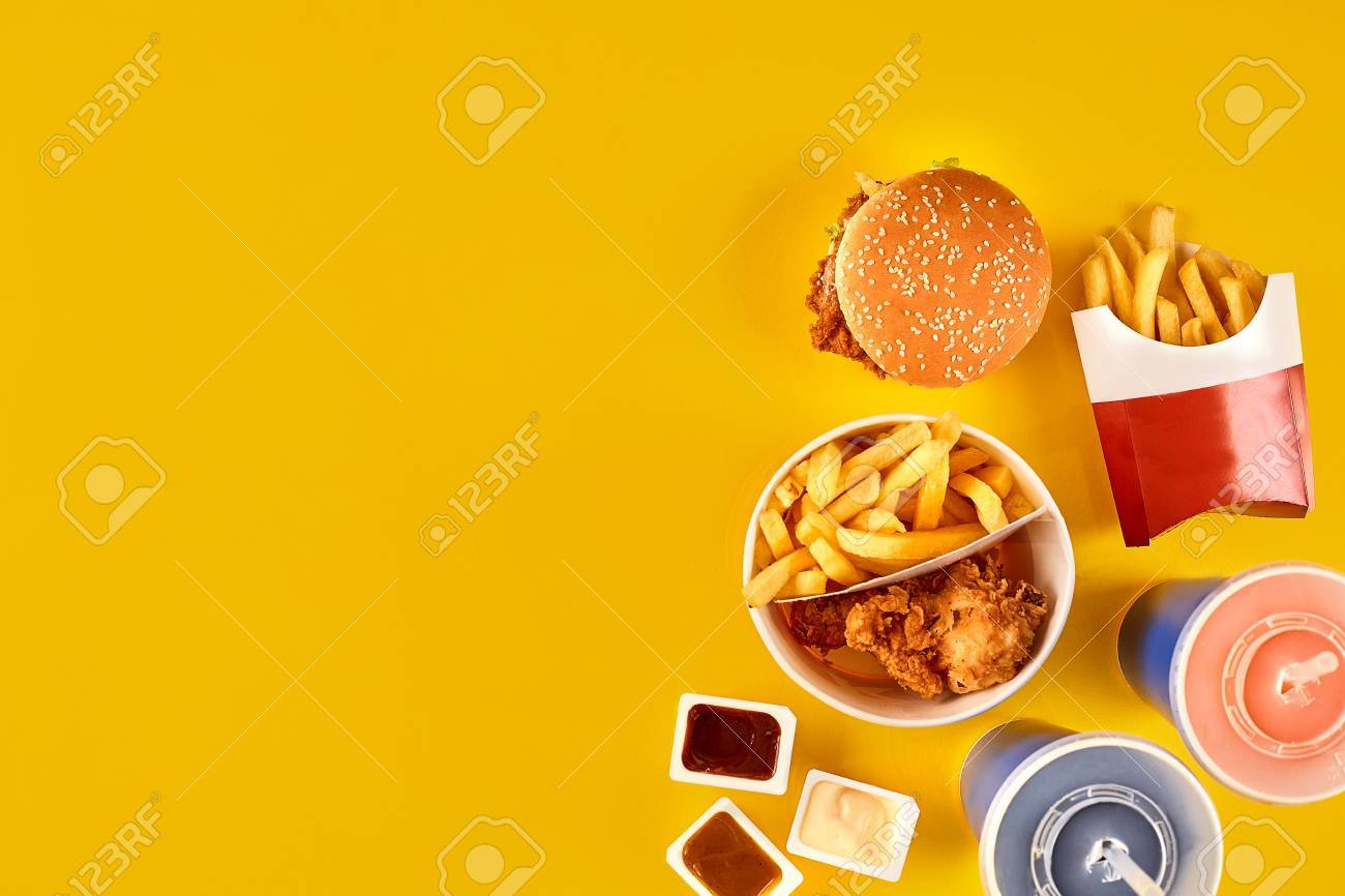 Fast Food Dish Top View Meat Burger Potato Chips And Wedges Take Away