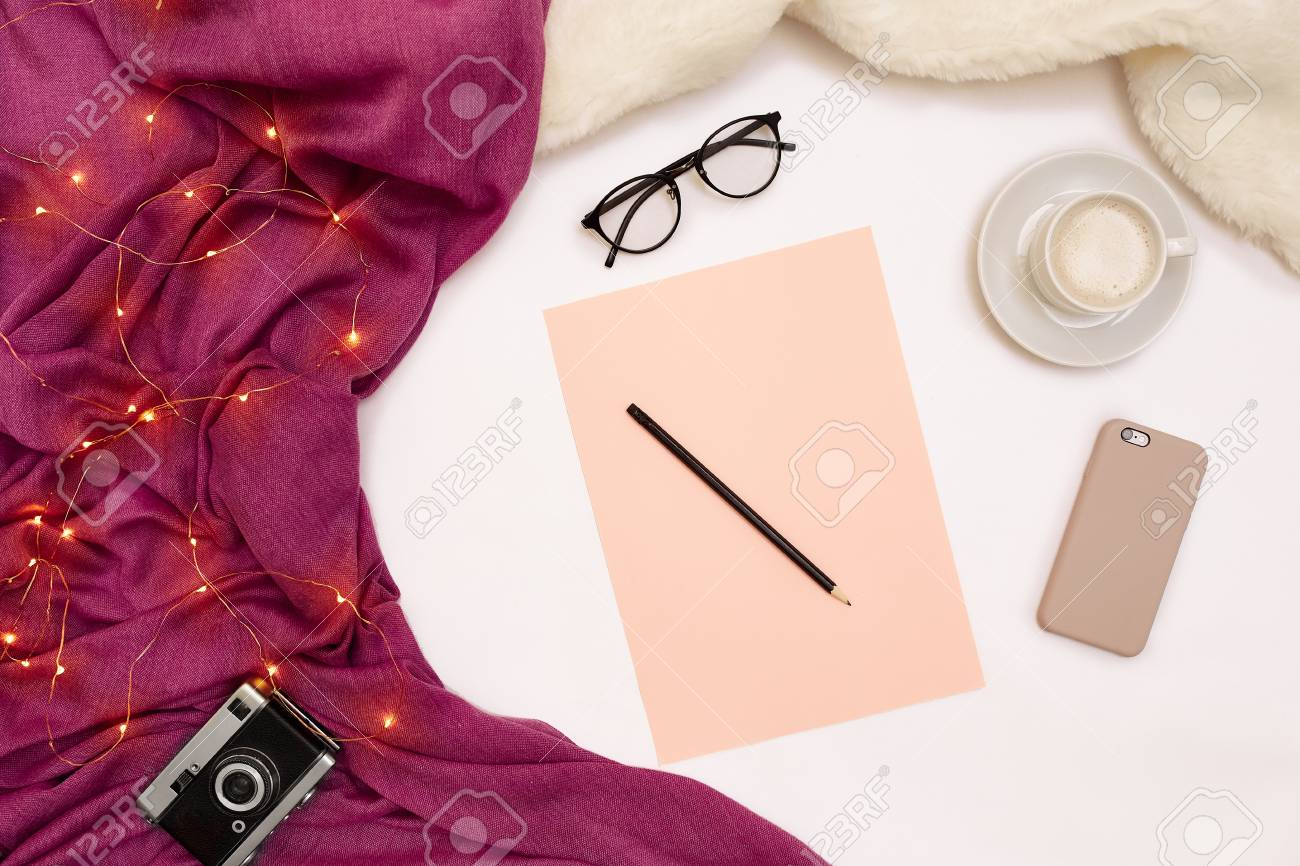 A Cup Of Coffee Smart Pink Paper With New Years Goals Scarf Stock Photo Picture And Royalty Free Image Image 90132203