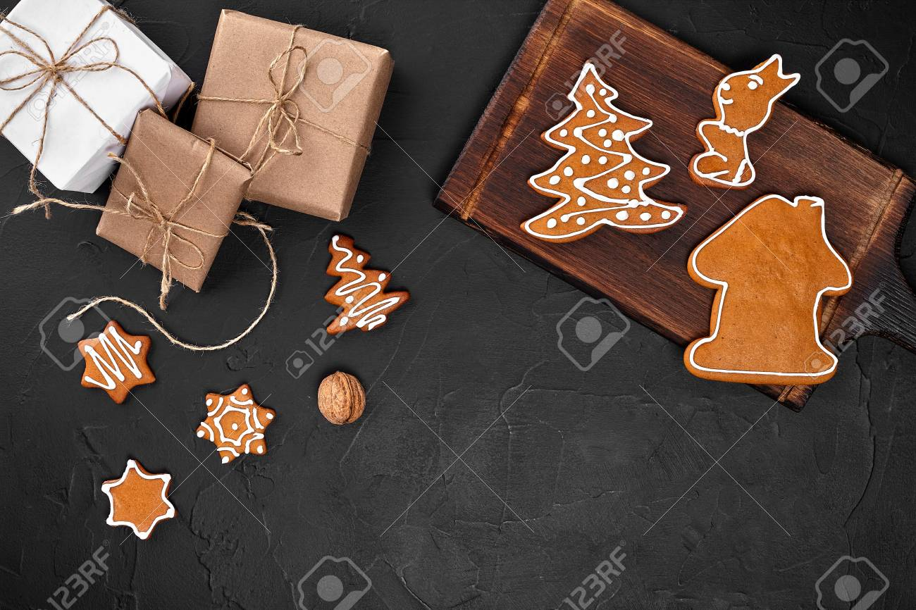 Christmas Composition Xmas Cookies Gifts Festive Decoration
