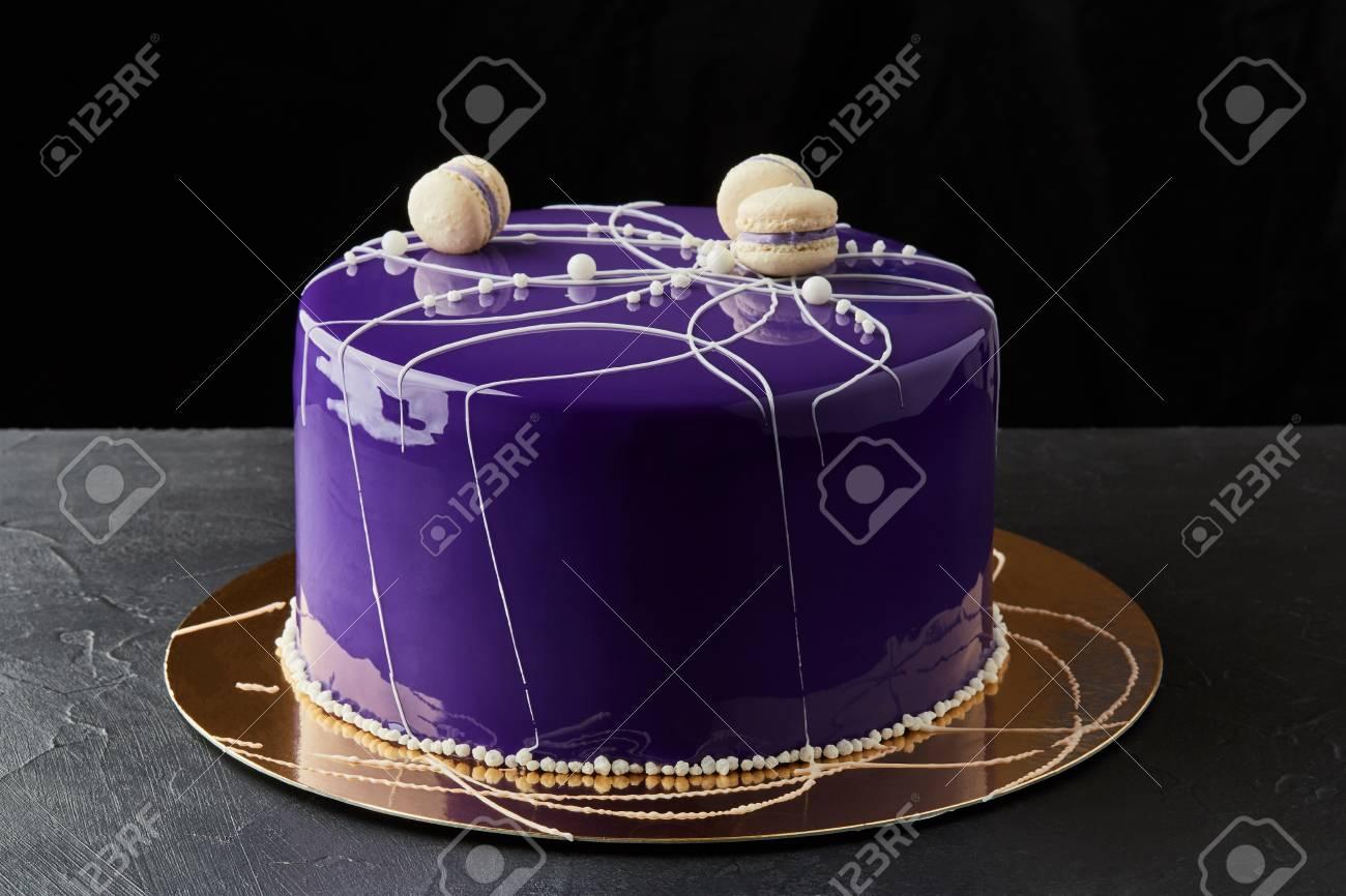 Phenomenal Happy Birthday Multi Layer Cake With Purple Icing And Macaroons Personalised Birthday Cards Arneslily Jamesorg