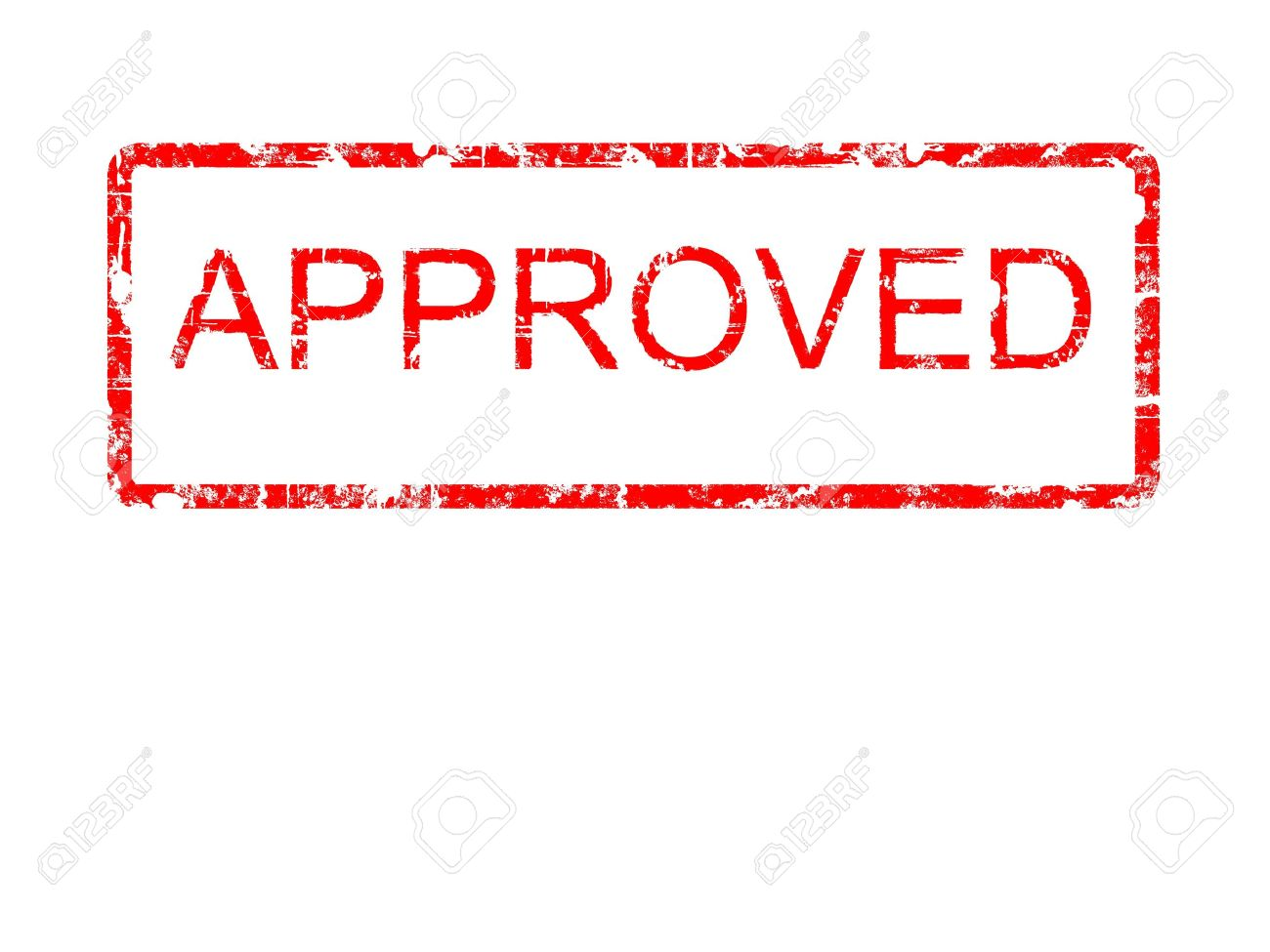 Red grunge style rubber stamp design with the word APPROVED within a border with rounded corners, on a plain white background Stock Photo - 4888622