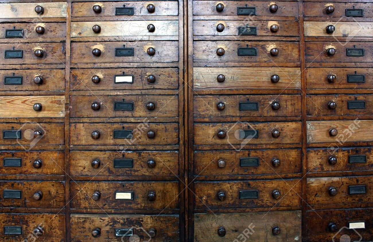 Old archive drawers cabinet Stock Photo - 5540627