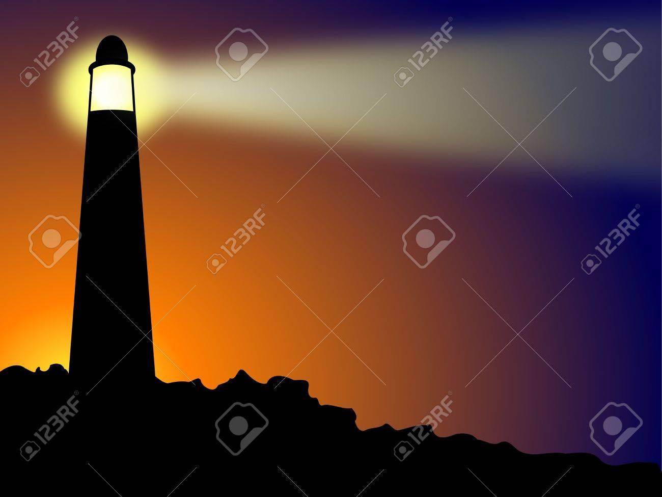 Lighthouse on rocks at sunset or sunrise Stock Photo - 7934138