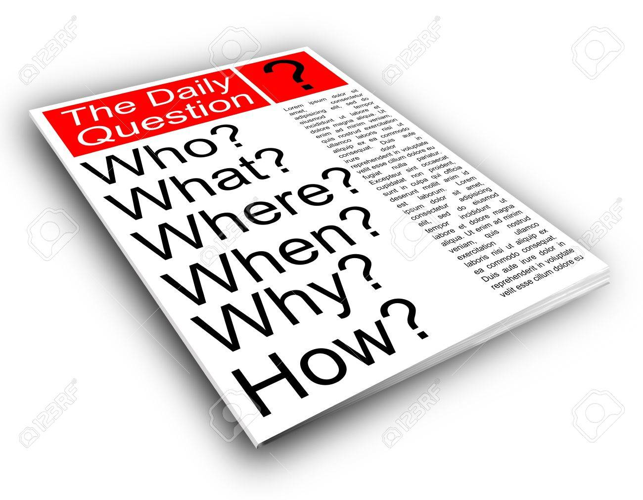 Who what where when why how. Journalism news concept Stock Photo - 7934151