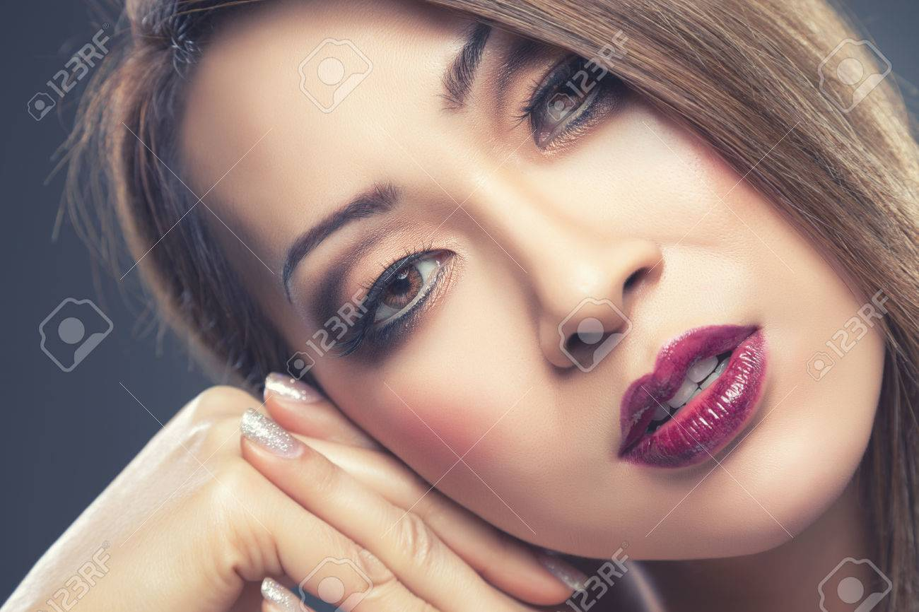 Beautiful Young Thai Woman With Makeup And Nails Done Stock Photo ...