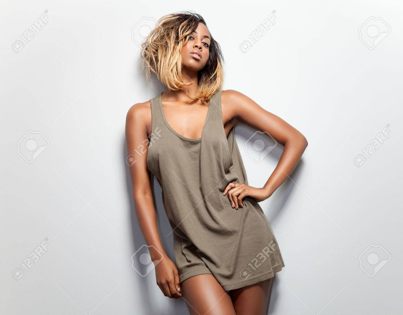 cc579359e7e53 Young beautiful woman wearing a tank top Stock Photo - 46009226