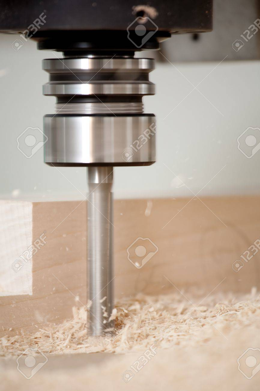 cutting wood with a CNC milling machines Stock Photo - 4289093