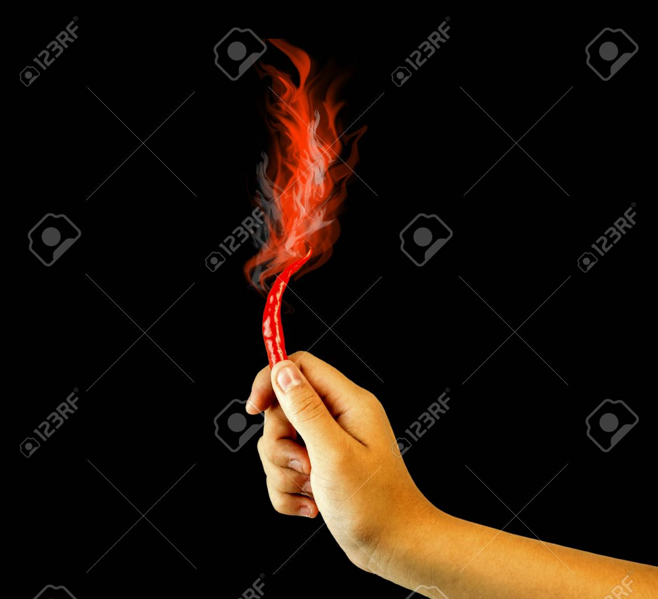 Hand hold fire red chili peppers Stock Photo - 14247177