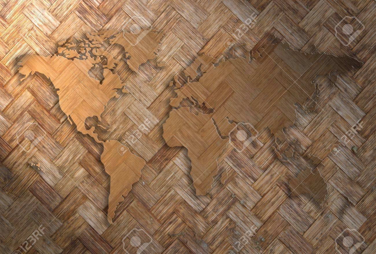 world map carving on wood wave plank