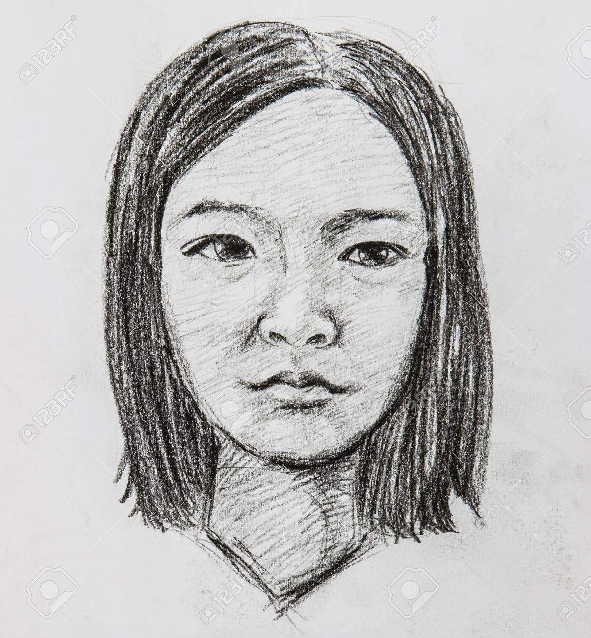 Illustrated portrait of beautiful girl pencil drawing stock photo 14613040
