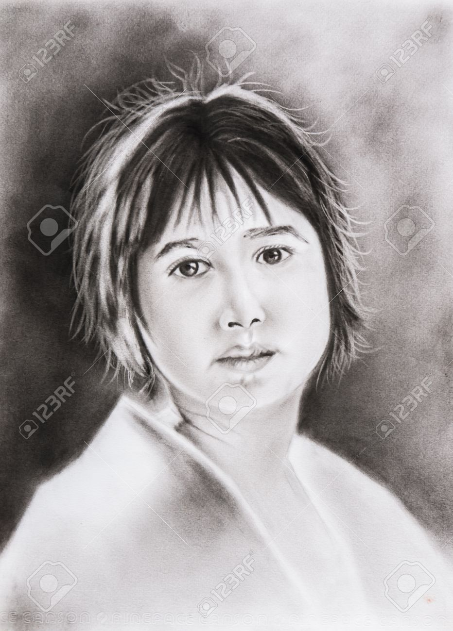 Beautiful girl watching attentively freehand pencil drawing not a real person stock photo 18352548