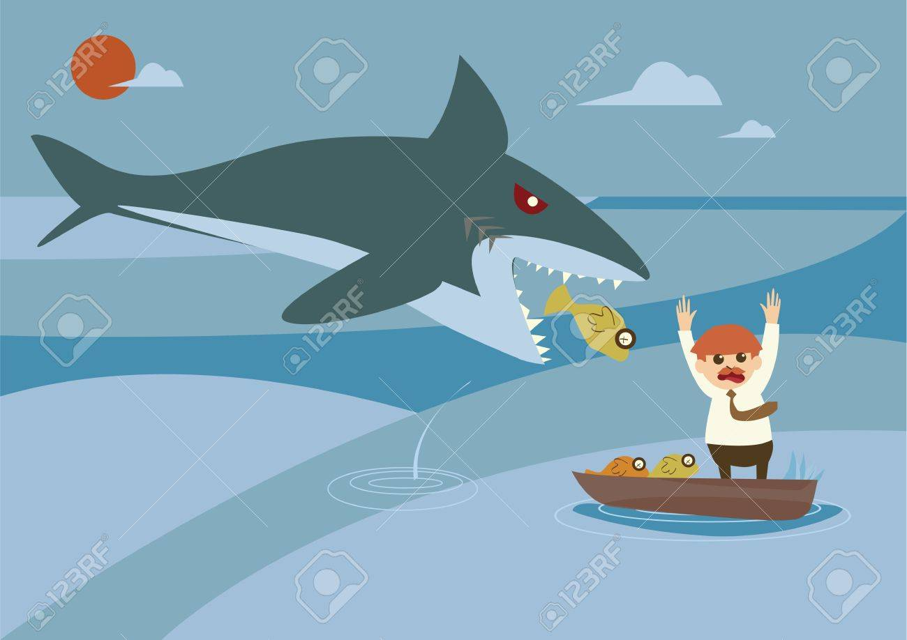 big fish and smallfish investment concept Stock Vector - 18985094