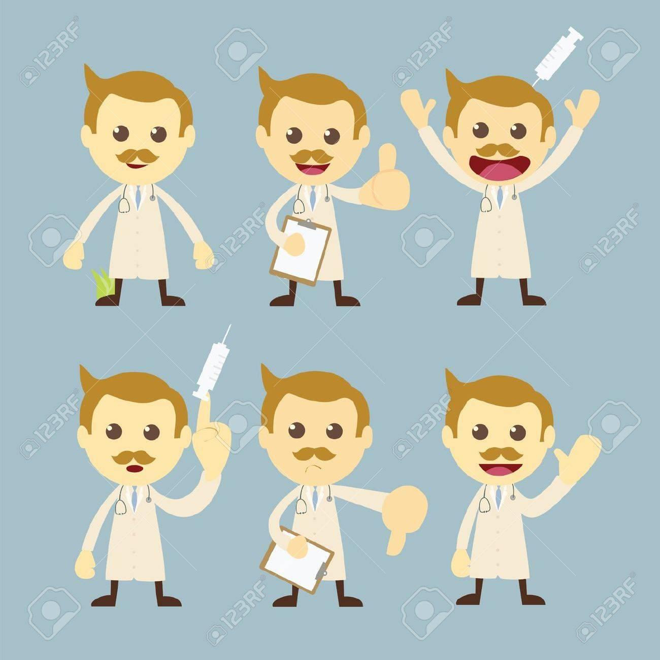 doctor character set cartoon Stock Vector - 19121093