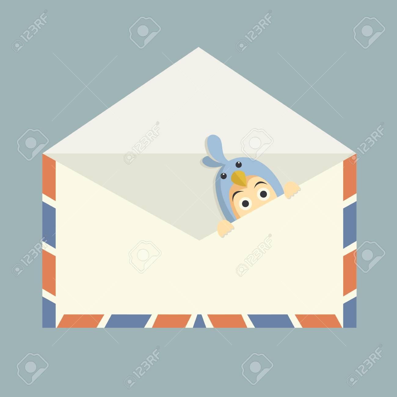 blue bird inside mail Stock Vector - 21220869