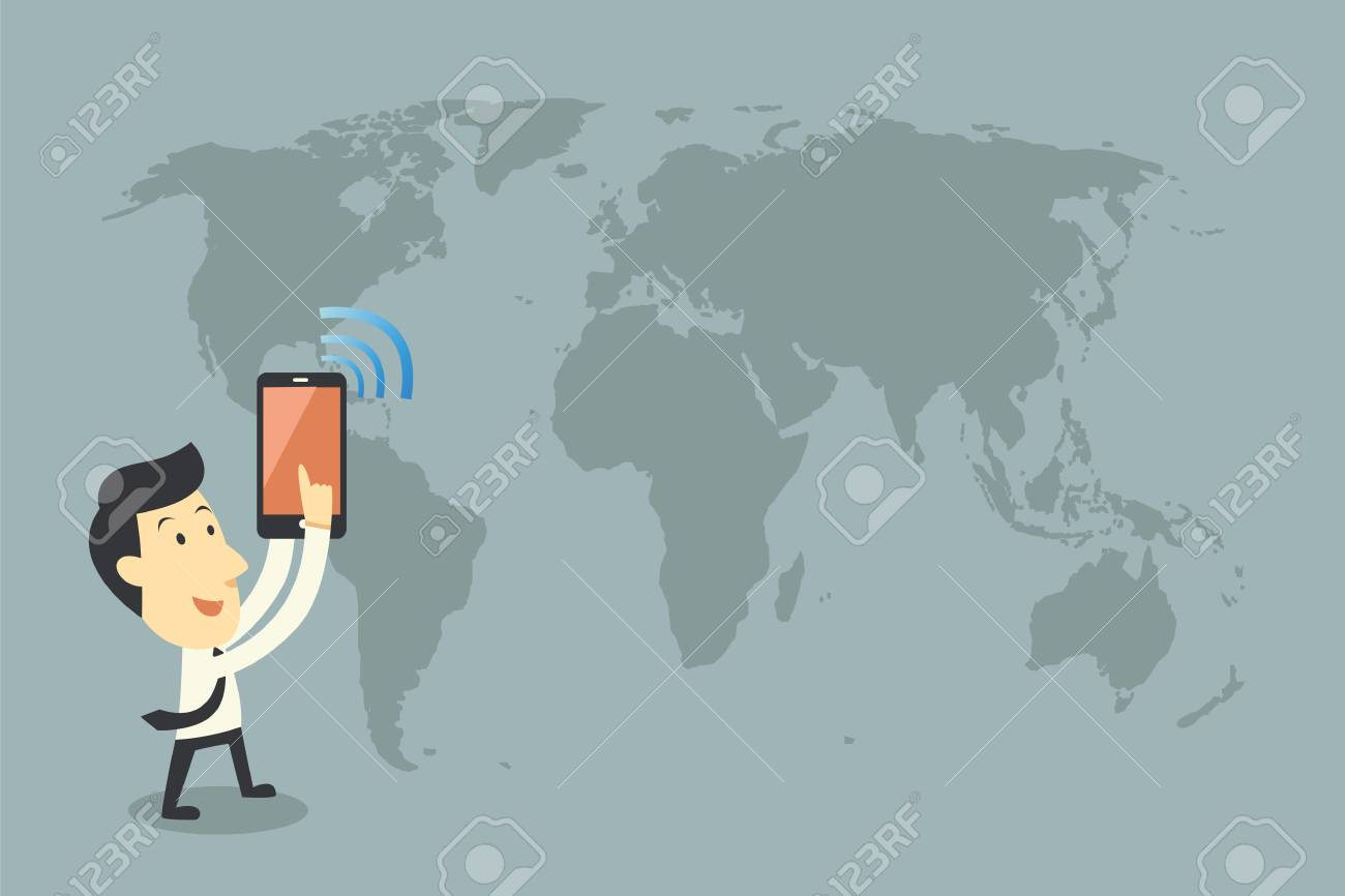 smartphones and networking, cartoon vector Stock Photo - 21688799