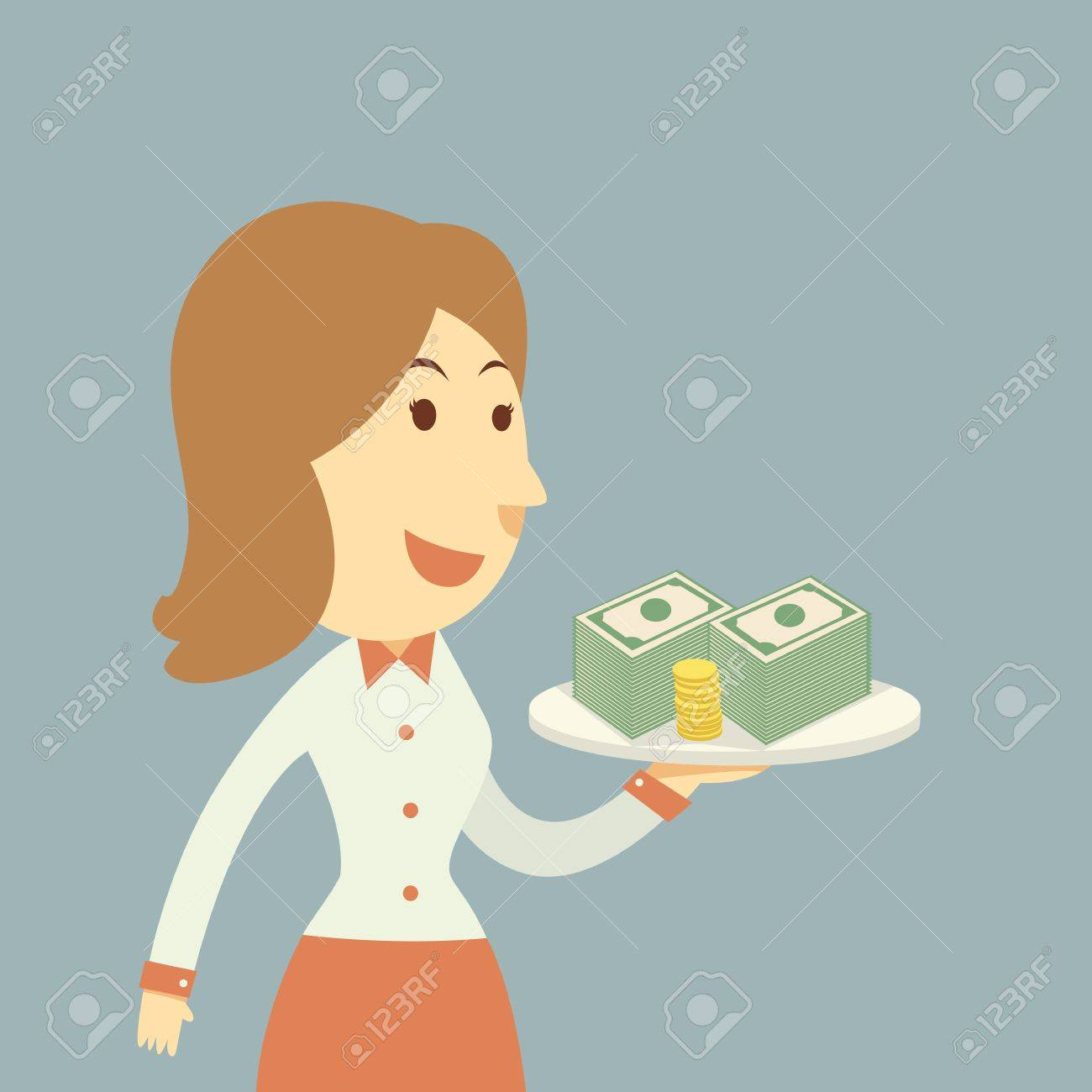 Waiter holding money Stock Vector - 21688803