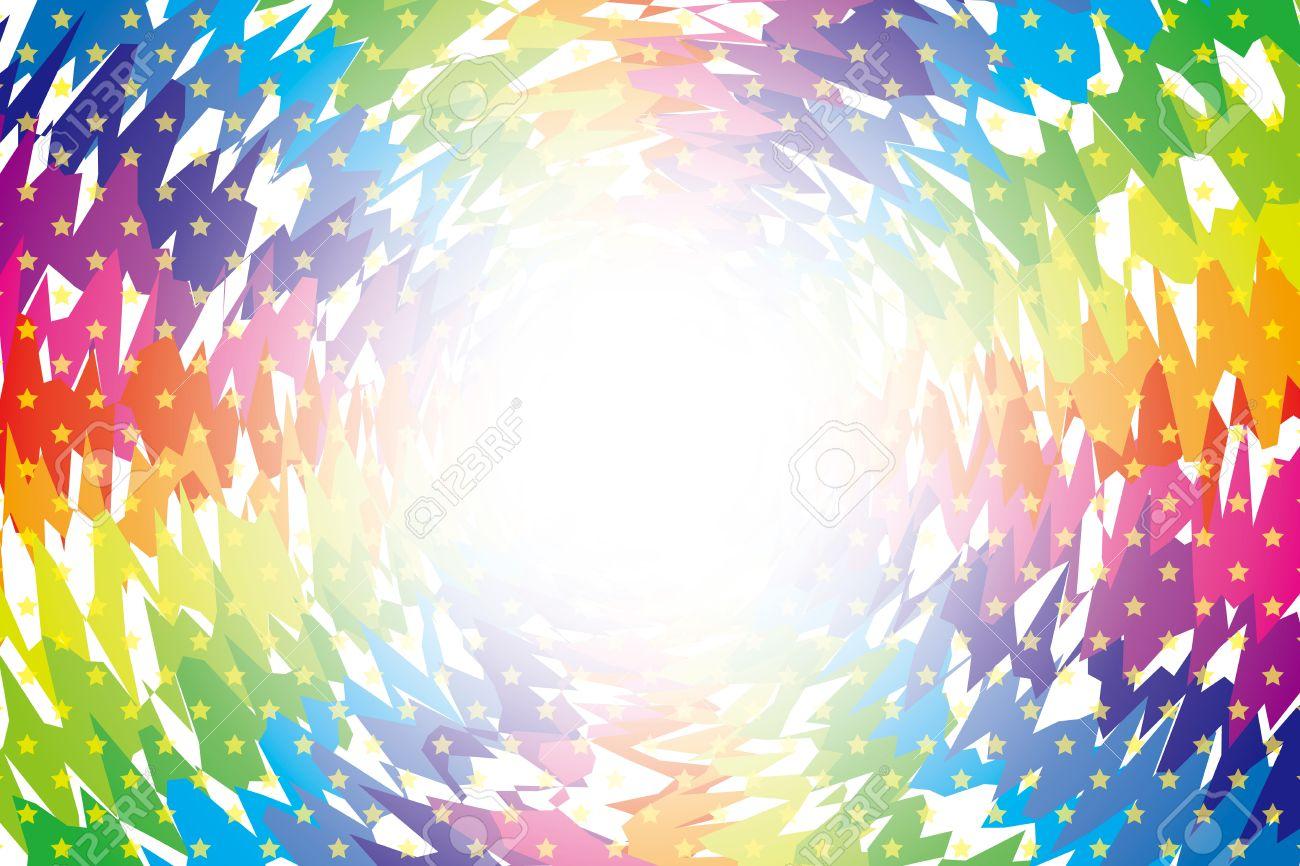 背景の素材壁紙 虹色放射のラフし クロス 光輝く星 きらきら星