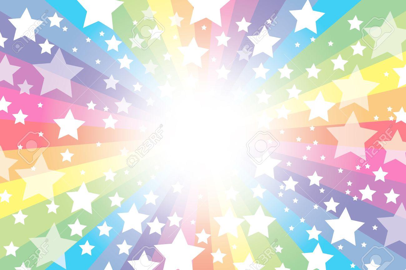 背景素材壁紙、虹、虹、レインボー、虹、輝く星、キラキラ、星、スター