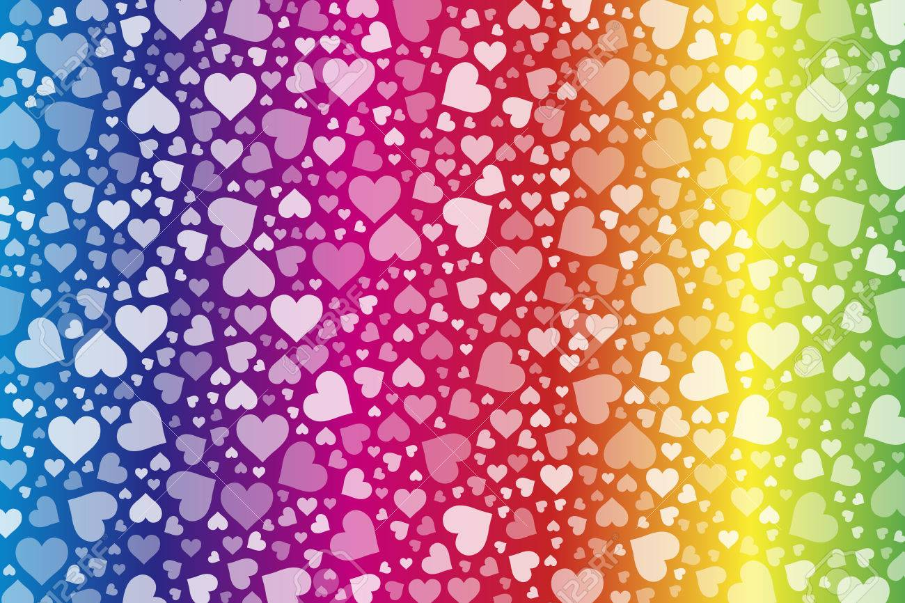 Background Material Wallpaper Hearts Rainbow Rainbow Colorful