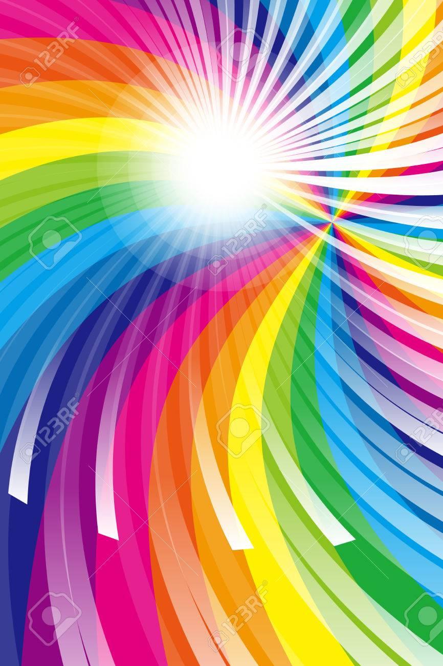 壁紙素材 虹 虹色 色 色鮮やかな 放射線 パーティー 光 輝き
