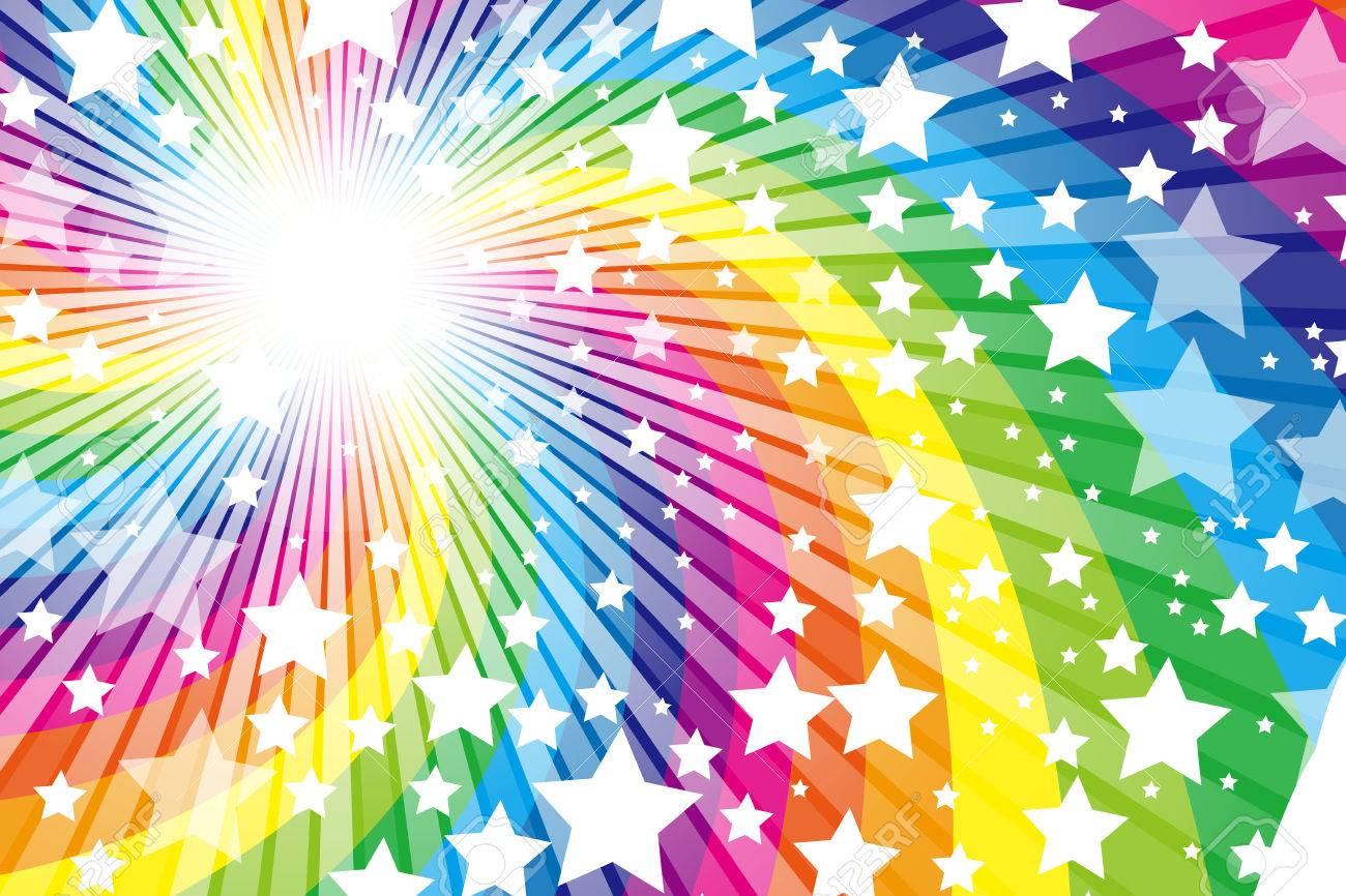 Rainbow Cute Pattern Of Wallpaper Material Star Stardust