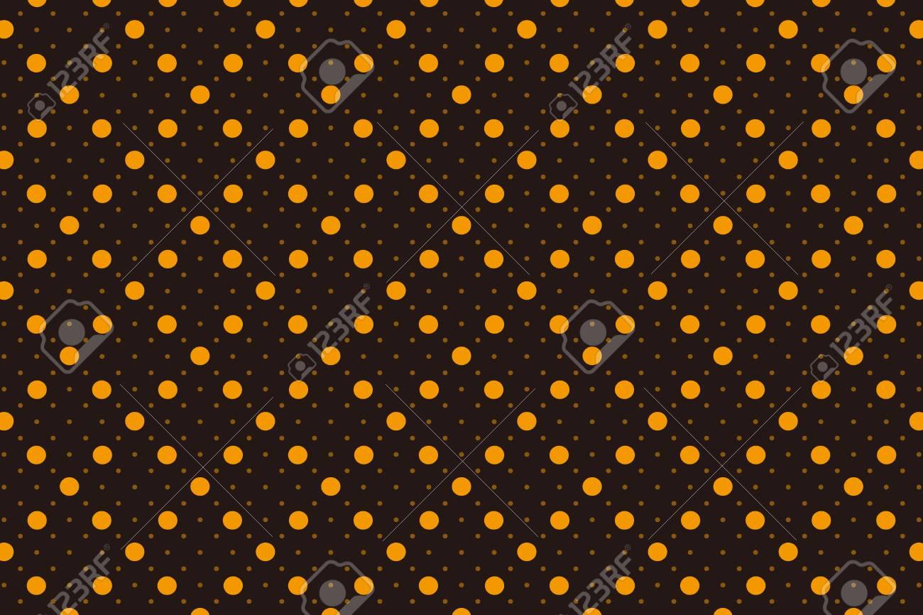 Orange Polka Dots On Black Background Wallpaper Material Vector