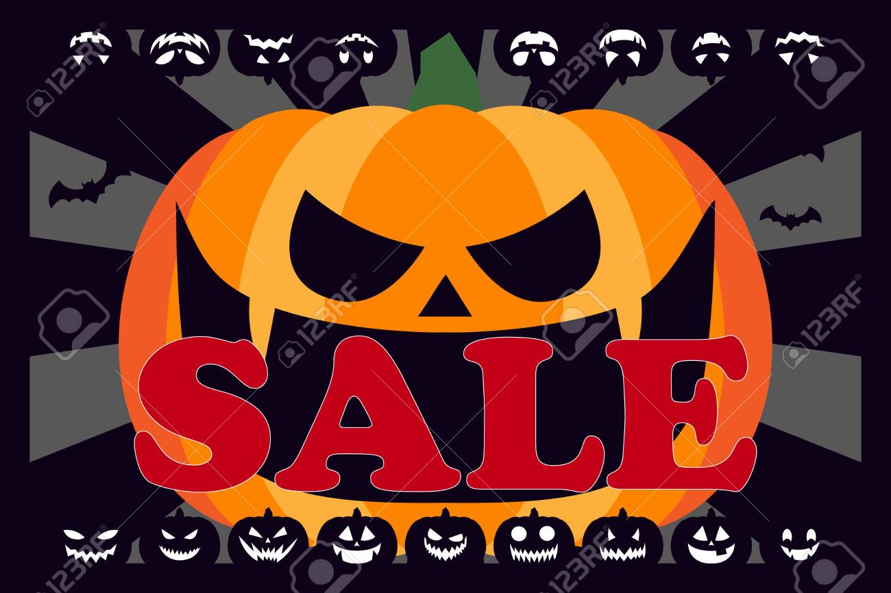 Halloween Poster Background Free.Vector Illustration Background Wallpaper Halloween Party Pumpkin Advertising