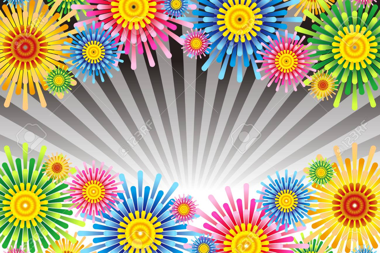 Vector illustration background wallpaper, colorful, concentrated line, effect line, radial, flower, flower, free material, free size, - 132653773