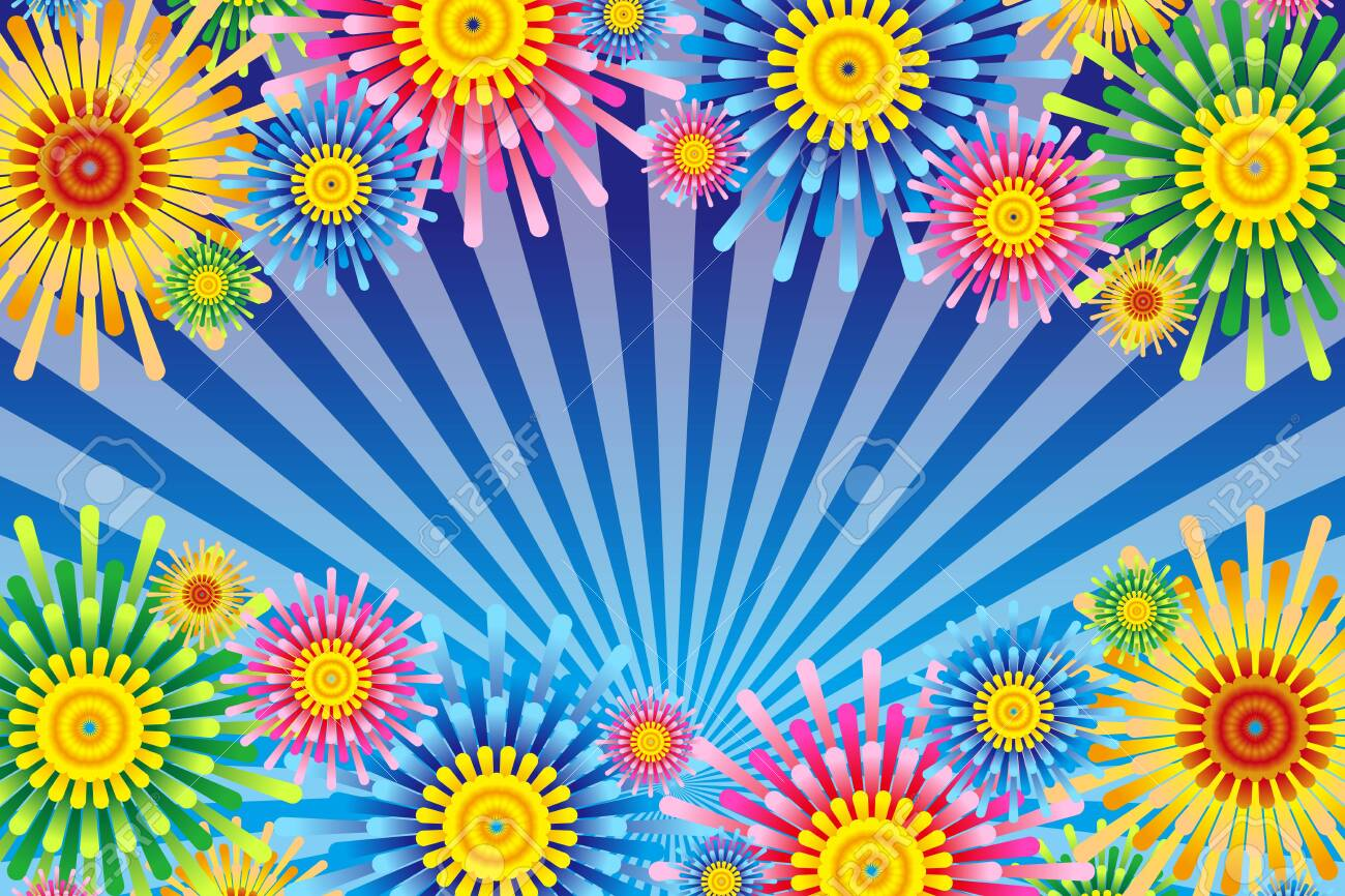 Vector illustration background wallpaper, colorful, concentrated line, effect line, radial, flower, flower, free material, free size, - 132653775