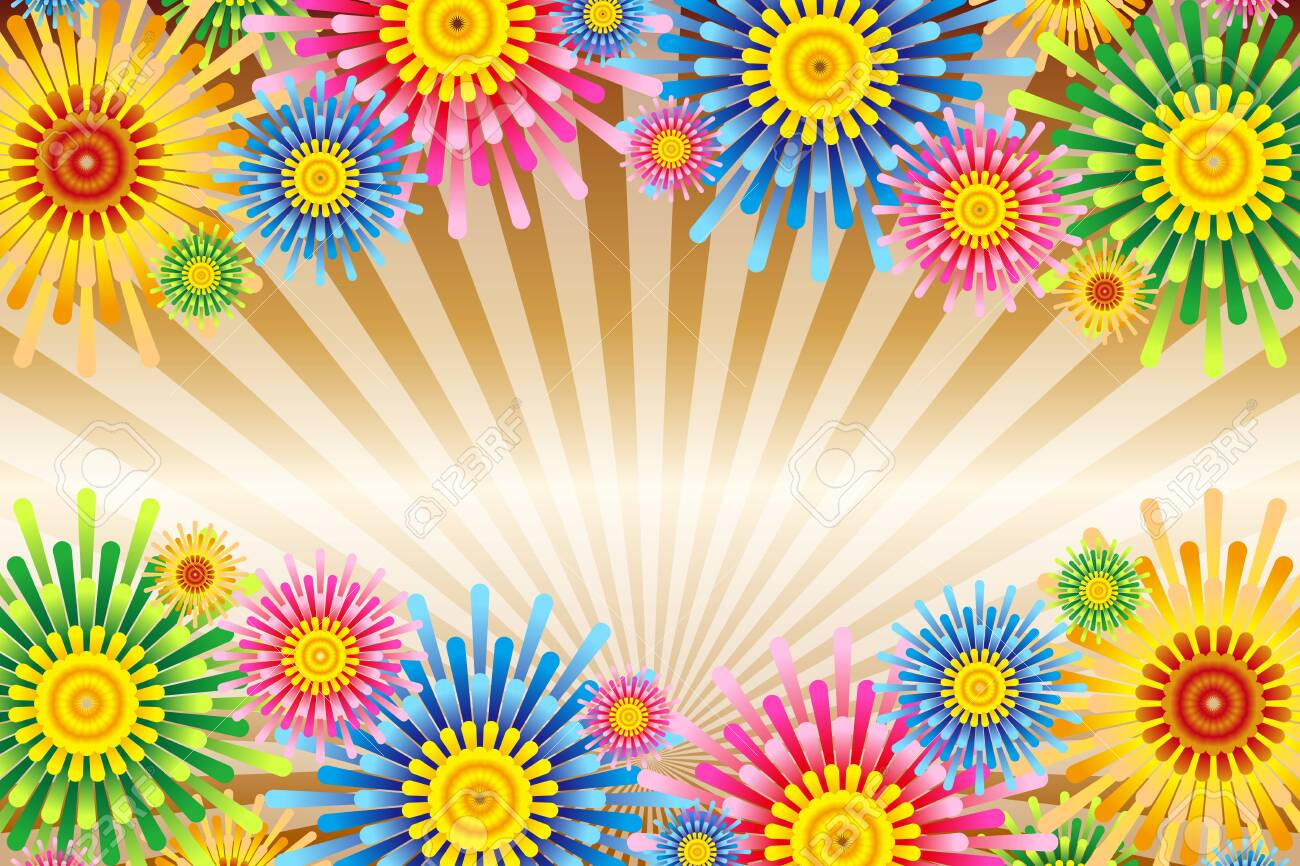 Vector illustration background wallpaper, colorful, concentrated line, effect line, radial, flower, flower, free material, free size, - 132653938
