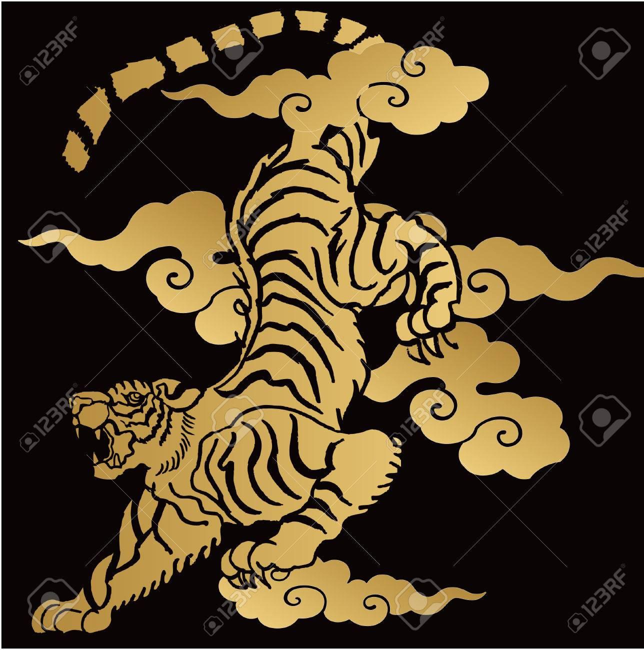 Japanese tiger illustration for design material - 60750942