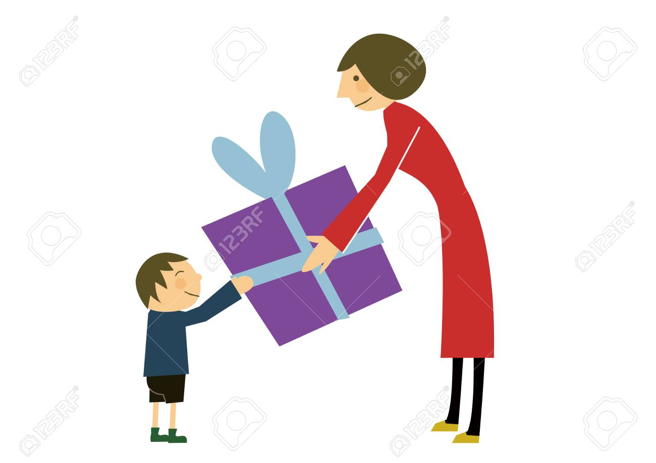 Gift giving vector illustration royalty free cliparts vectors and gift giving vector illustration stock vector 88856503 negle Choice Image