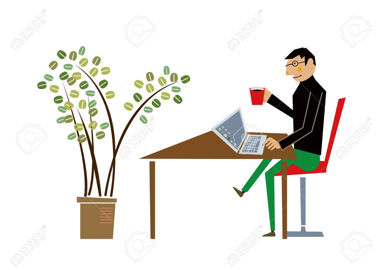 nomad worker at work and waitress clip art royalty free cliparts