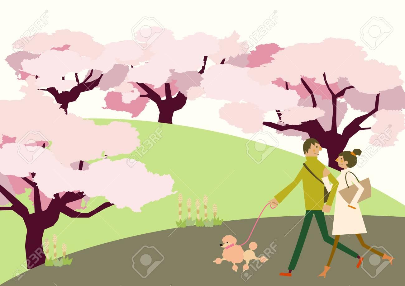桜の花の風景歩くカップル 春のクリップアート季節のイラストの