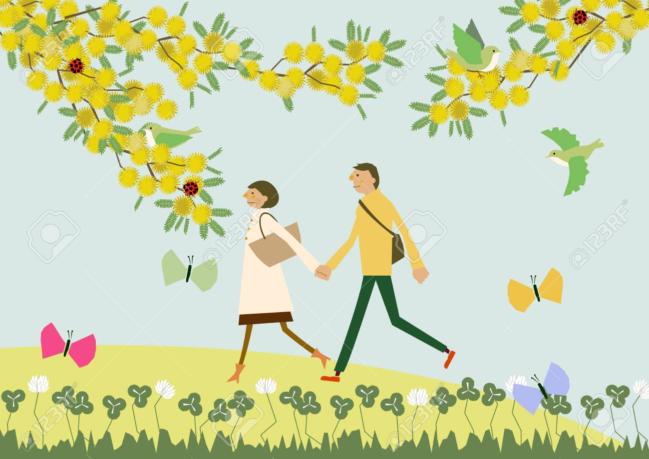 A couple walking with the flowers of Mimosa. Illustration of the season. Image of spring. - 92913824