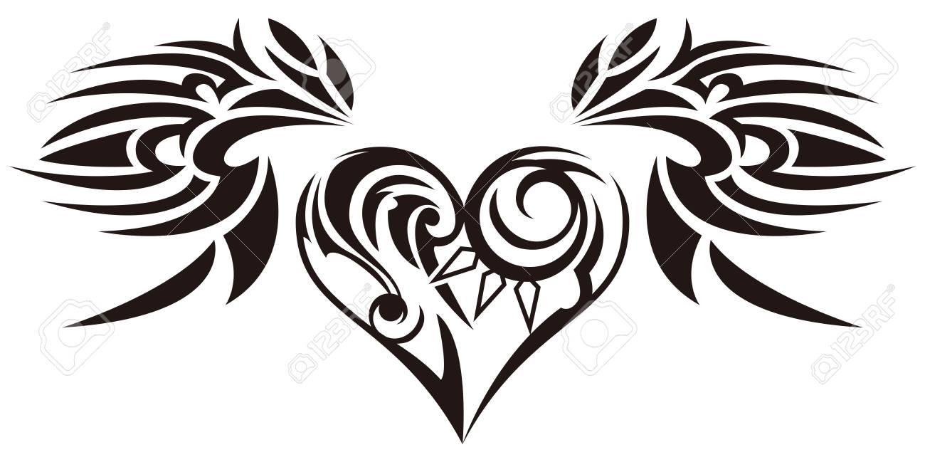 tribal sticker heart and wings design of angel wings and hearts rh 123rf com tribal heart design pics tribal heart wrist tattoo designs