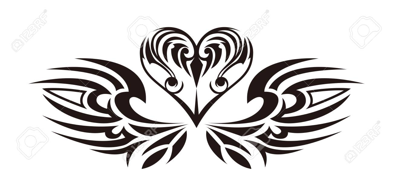 tribal sticker heart and wings design of angel wings and hearts rh 123rf com tribal heart design pics heart tribal patterns