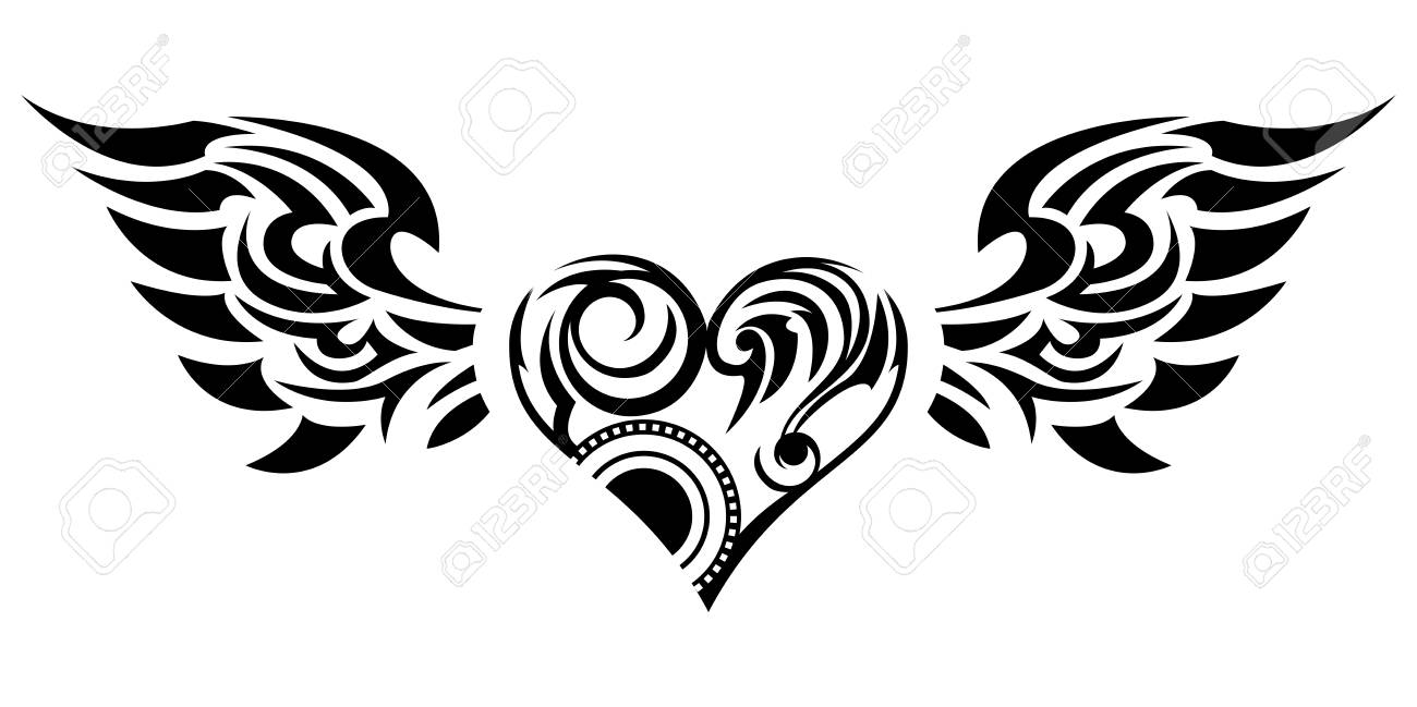 Tribal sticker heart and wings design of angel wings and