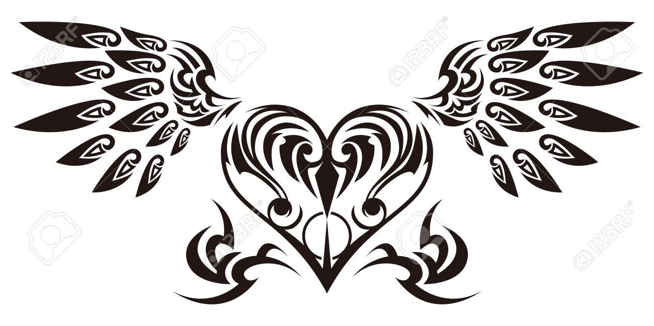 tribal sticker heart and wings design of angel wings and hearts rh 123rf com free tribal heart designs tribal heart tattoo designs free