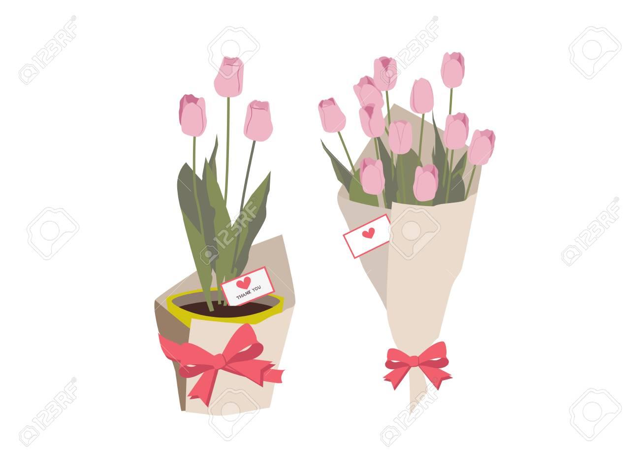Spring Flower Gift Clip Art Illustration Of Tulips Spring Flower