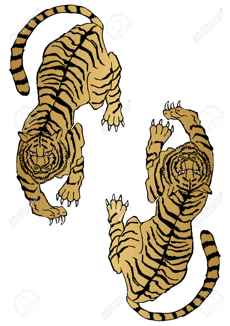 Illustration of a Japanese pattern tiger. Zodiac clip art. - 169351418