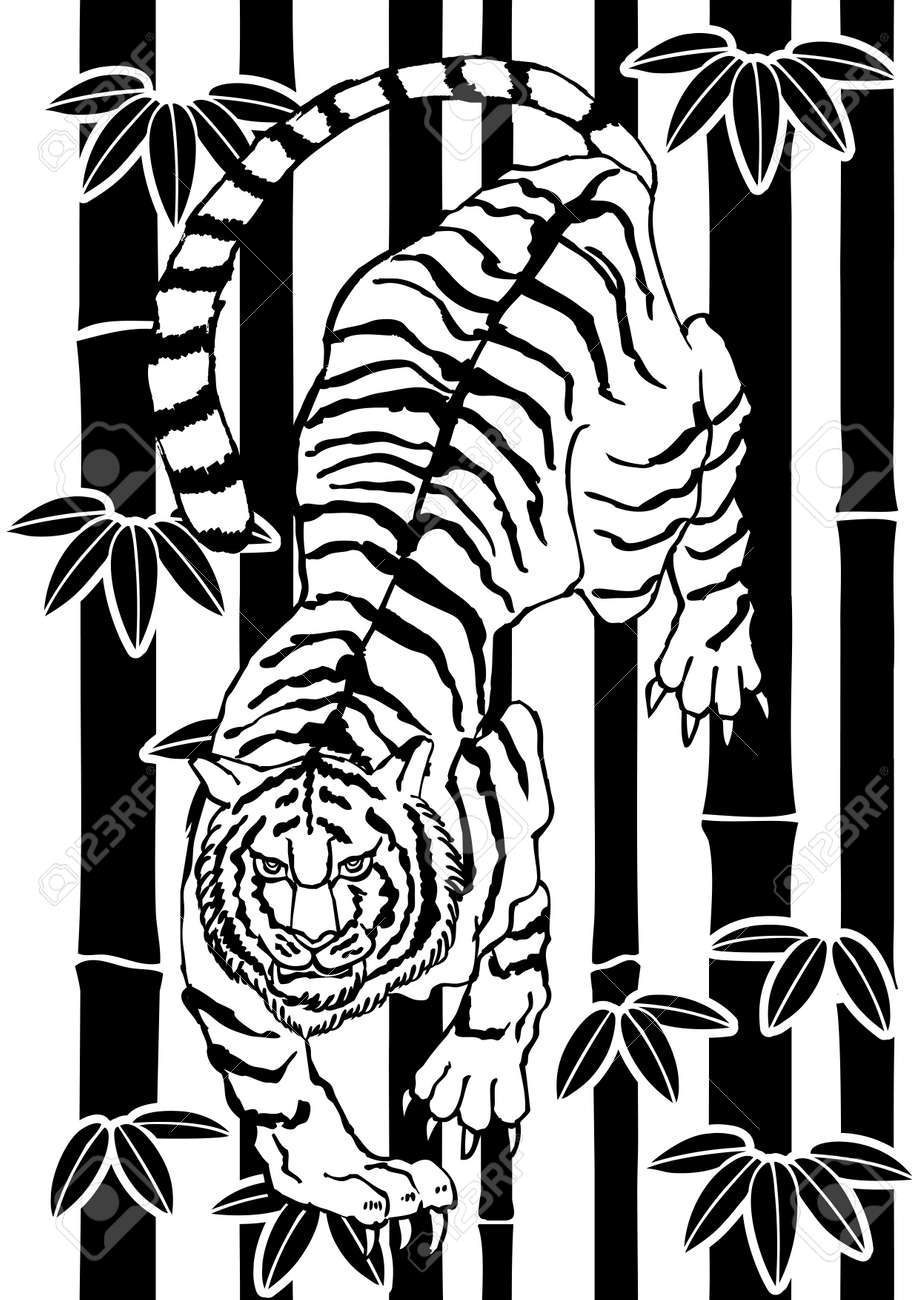 Illustration of a Japanese pattern tiger. Zodiac clip art. - 169494540