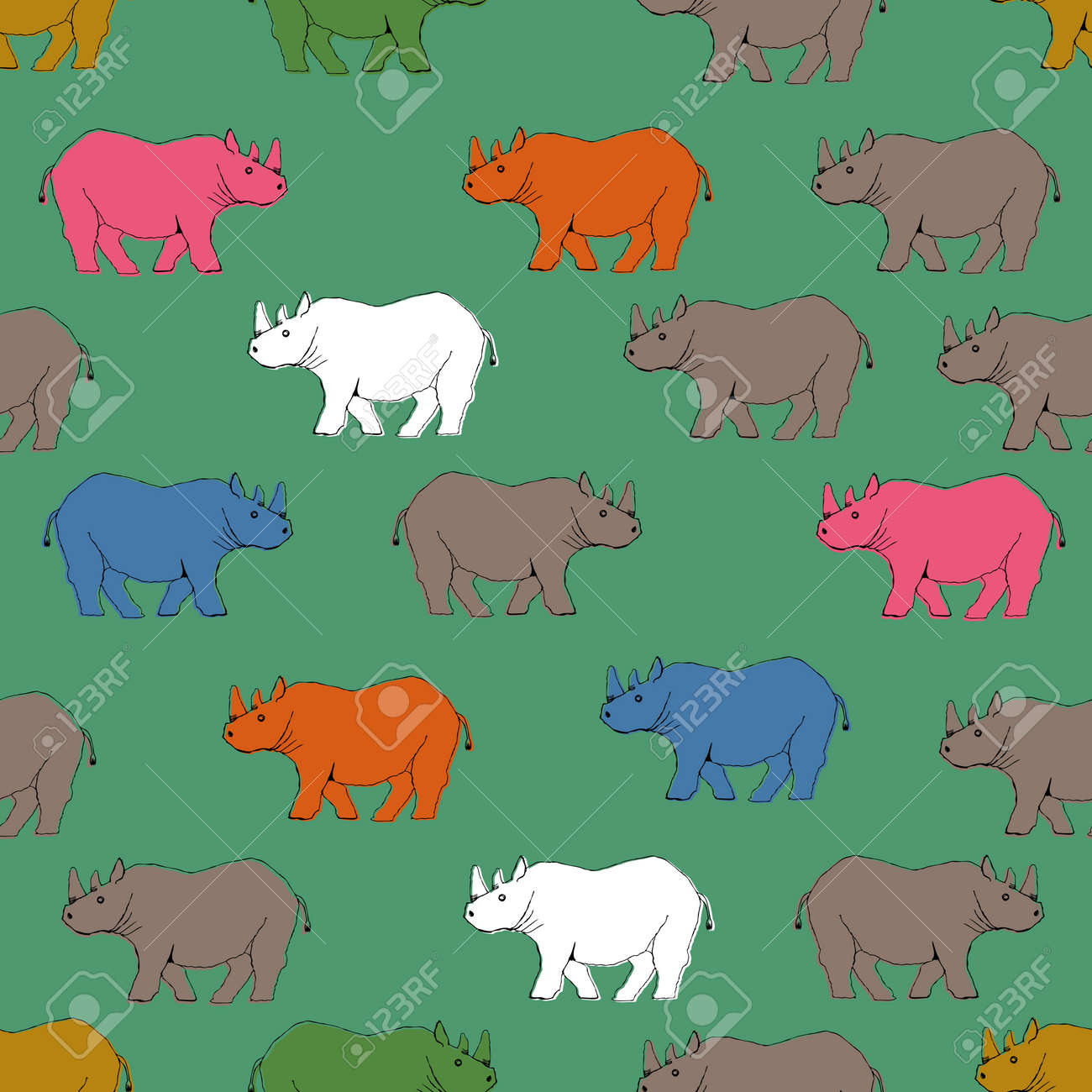 Rhino pattern. Seamless pattern. Material for wallpaper and wrapping paper. Textile design. - 169494543