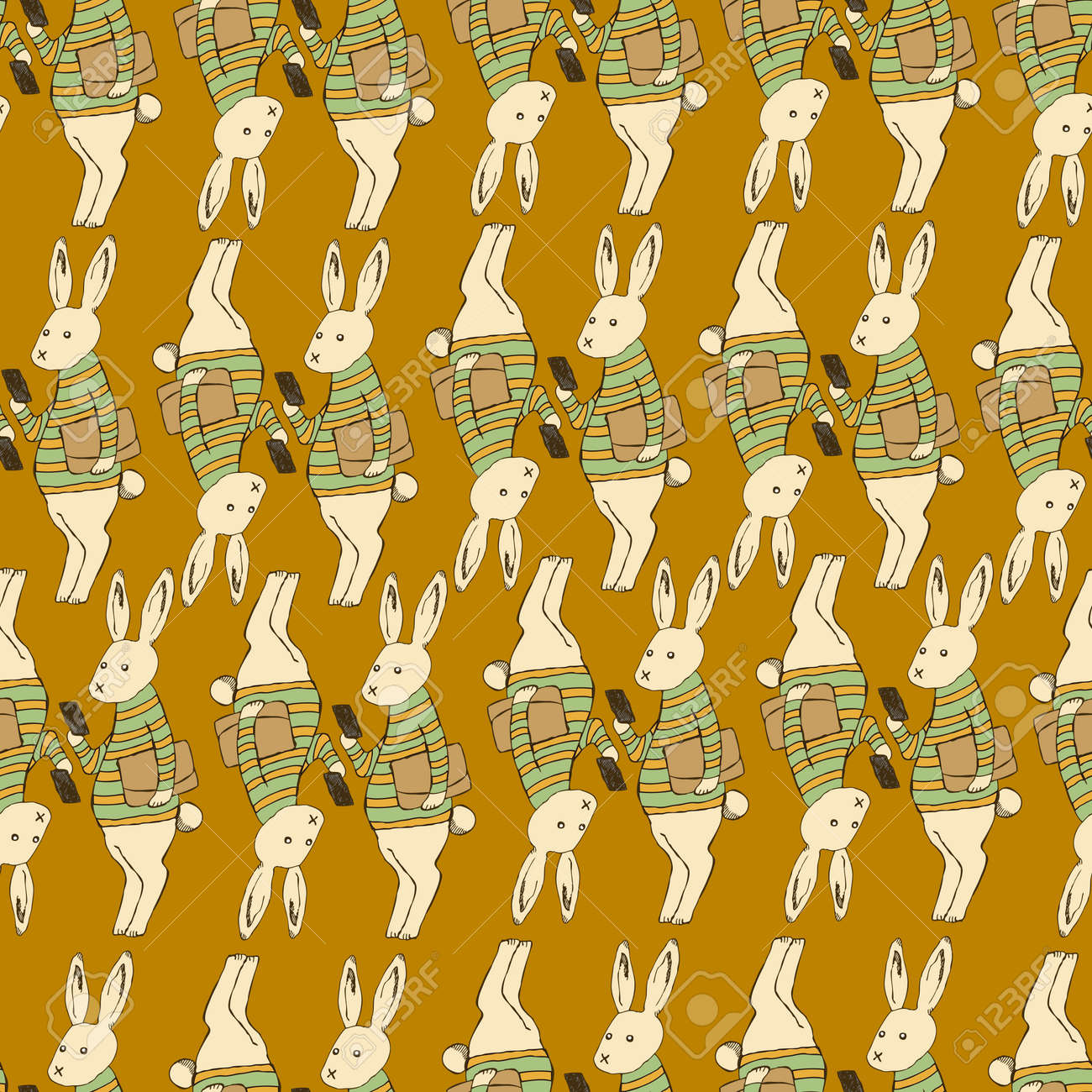 Smartphone and rabbit pattern. Seamless pattern. Material for wallpaper and wrapping paper. Textile design. - 169494548
