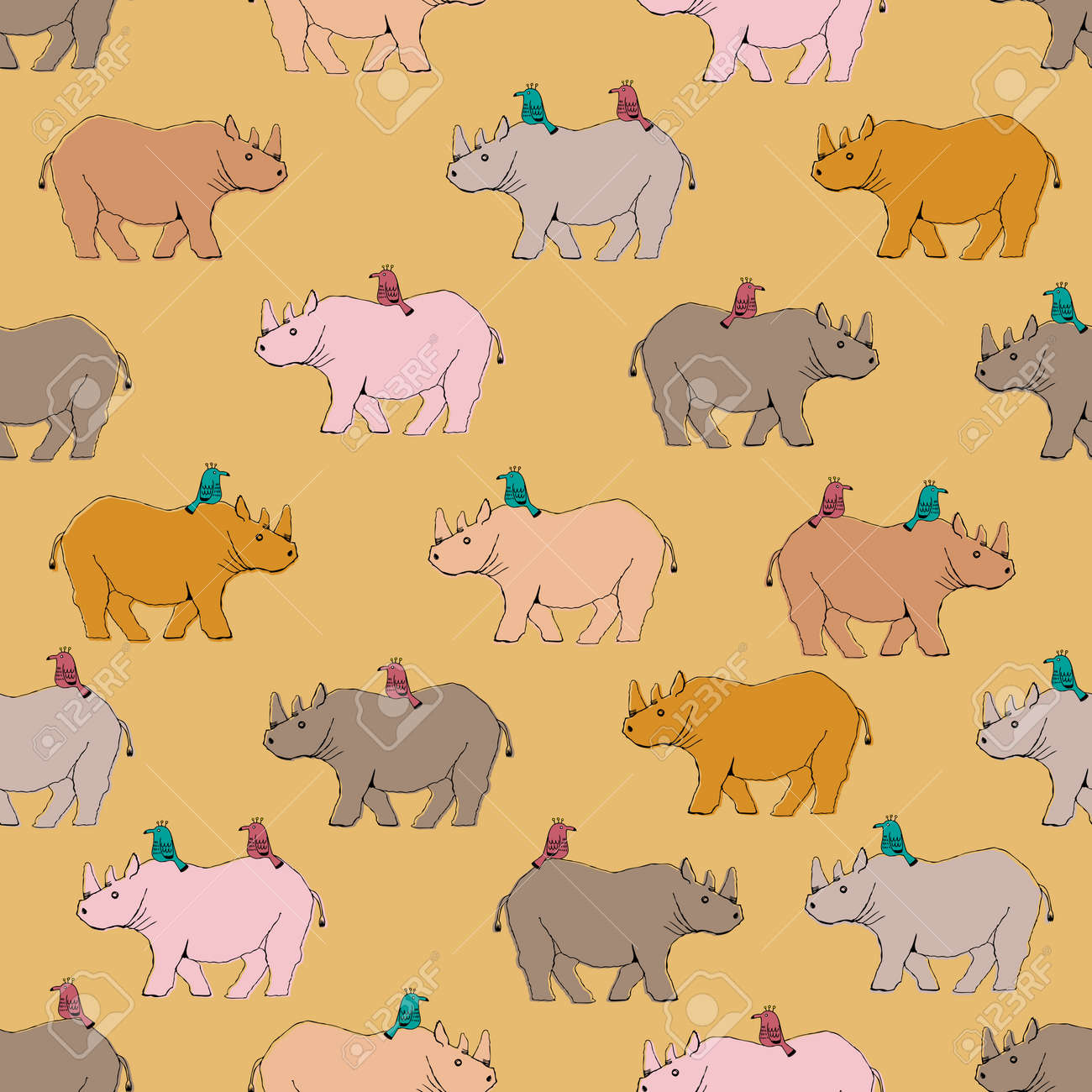 Rhino and bird patterns. Seamless pattern. Material for wallpaper and wrapping paper. Textile design. - 169172687