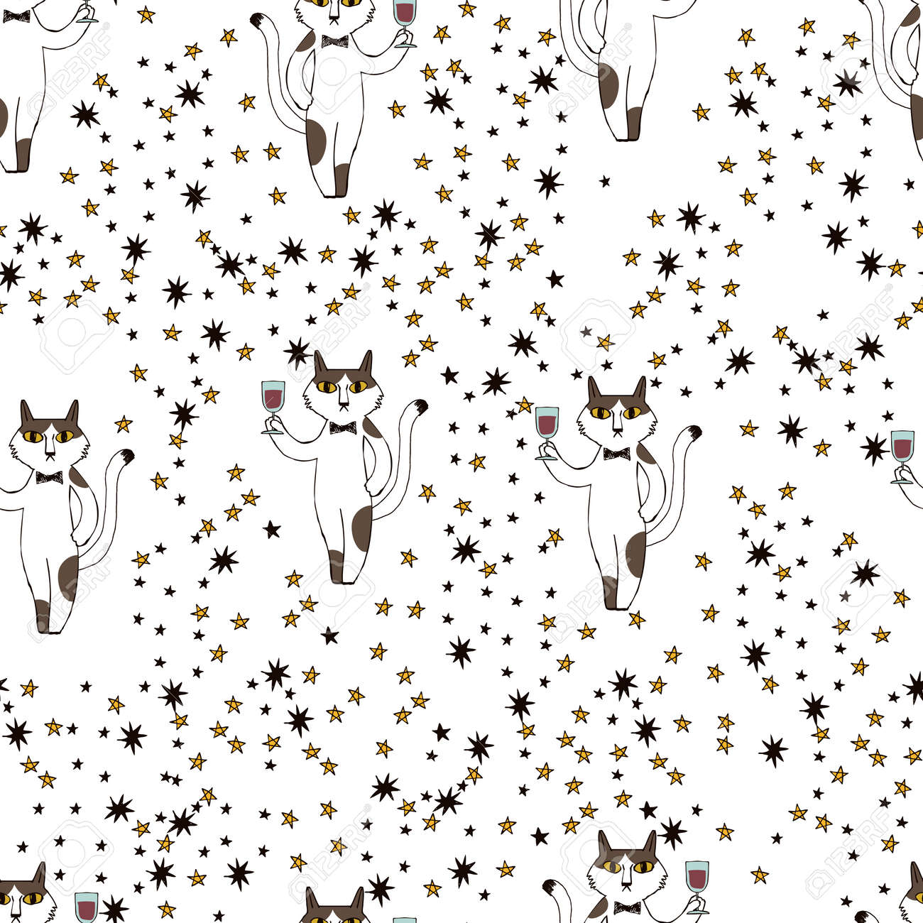 A pattern of cats toasting. Seamless pattern. Material for wallpaper and wrapping paper. Textile design. - 169172688
